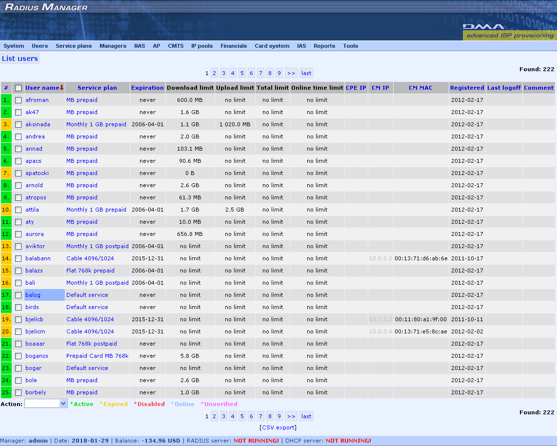 DMA Radius Manager 4.2.0 Screen shot